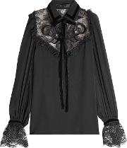 Blouse With Silk, Velvet And Lace