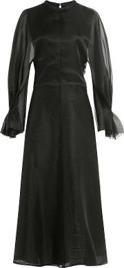 Silk Satin Dress With Chiffon Sleeves