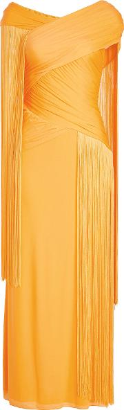 Floor Length Gown With Fringes