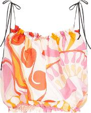 Printed Cropped Top In Cotton And Silk