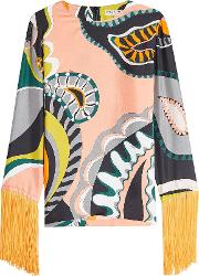 Printed Silk Blouse With Fringe