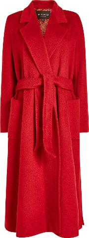 Belted Coat In Wool And Mohair