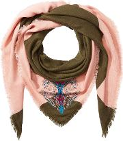 Embroidered Cashmere Scarf With Silk