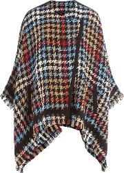 Houndstooth Knit Poncho