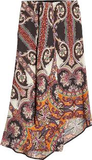 Printed Asymmetric Skirt With Wool