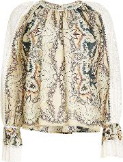 Printed Cotton And Silk Blouse With Lace