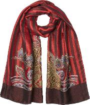 Printed Scarf With Silk And Wool