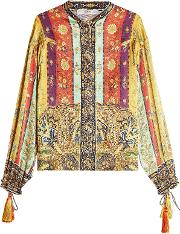 Printed Silk Blouse With Tassels