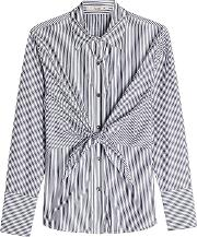 Striped Cotton Shirt With Knotted Front