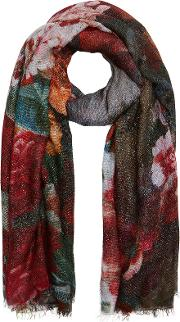 Floral Scarf With Cashmere
