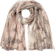 Printed Cotton Scarf With Silk
