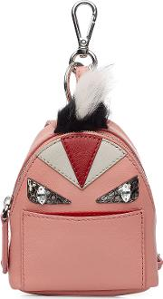 Leather Backpack Charm With Fox Fur
