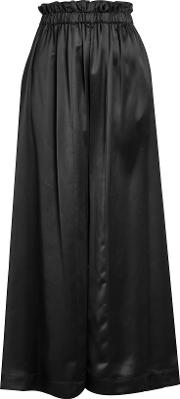 Satin High Waisted Wide Leg Pants