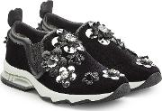 Suede Sneakers With Embellished Flower Appliques