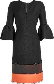 Wool And Silk Dress With Bell Sleeves