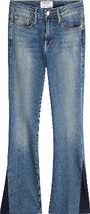 Cropped Flare Jeans With Accents