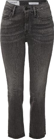 Le High Straight Jeans With Raw Studded Trim