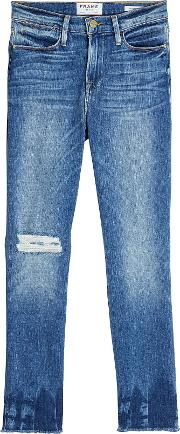 Le High Straight Raw Edge Cropped Jeans