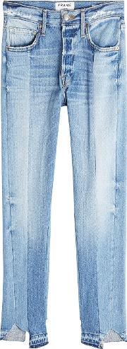 Patchwork Straight Cropped Jeans