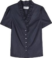 Short Sleeved Cotton Blouse With Ruffles