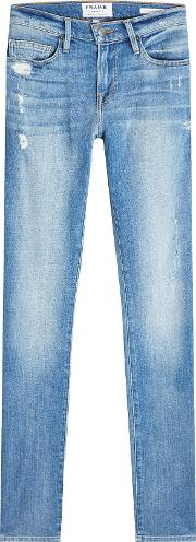 Slim Straight Leg Jeans With Distressed Detail