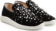 Embellished Velvet Sneakers