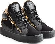 Leather And Velvet High Top Sneakers