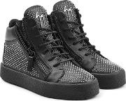 Stud Embellished Leather Sneakers