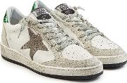 Ball Star Leather Sneakers With Suede And Glitter