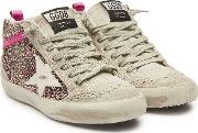 Mid Star Glitter And Suede Sneakers