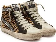 Slide Calf Hair And Leather Sneakers