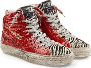 Slide High Top Sneakers With Patent Leather And Calf Hair