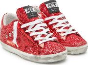 Super Star Leather Sneakers With Glitter
