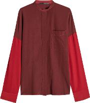 Oversized Two Tone Silk Blouse