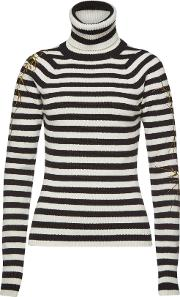 Striped Turtleneck Pullover With Wool And Cashmere