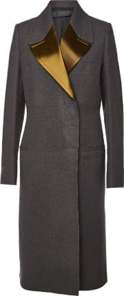Wool Coat With Satin Lapels