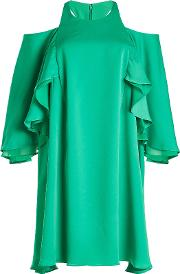 Cold Shoulder Dress With Ruffles