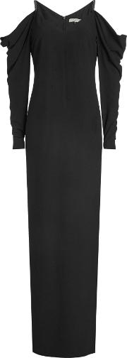 Floor Length Gown With Cold Shoulders And Draped Sleeves