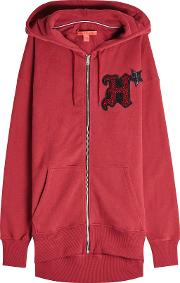 Embellished Cotton Hoodie With Zipped Front