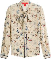Printed Silk Blouse With Pussbyow