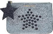 Studded Metallic Leather Pouch