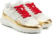 Sneakers With Metallic Leather And Mesh