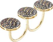 18 Karat Gold And Sapphire Knuckle Ring