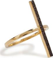 18k Yellow Gold Cross Over Ring With Black Diamonds