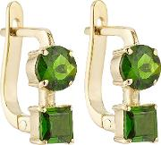 18k Yelow Gold Earrings With Chrome Diopside