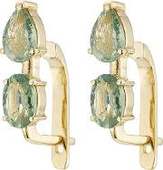 18k Yelow Gold Earrings With Green Sapphires