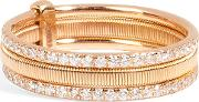 18kt Pink Gold Triple Bond Band With White Diamonds