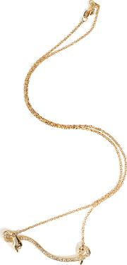 18kt Yellow Gold Flying Snake Necklace With Diamonds