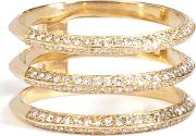 18kt Yellow Gold Triple Disc Ring With White Diamonds