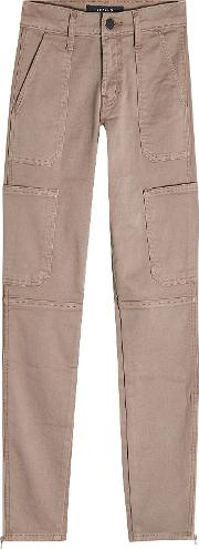 Skinny Utility Mid Rise Cotton Pants